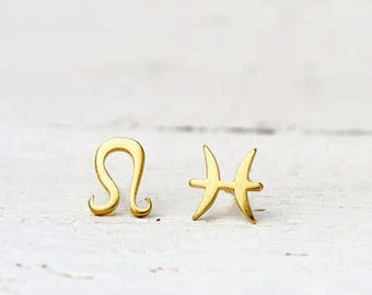 Single Zodiac Sign Earring Solid Gold Earrings Tiny 14k gold One Solid Gold Initial Stud dainty Mothers day gift personalized womens sale
