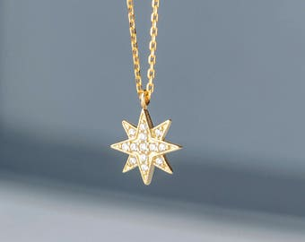 North Star Necklace 14k solid Gold Starbust Pendant Gift for Her Delicate Pole Star Necklace with CZ birthday Gift bridal Dainty necklace
