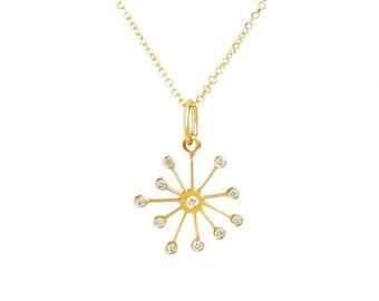 14k Solid Gold Diamond Starburst Necklace Gold Dandelion Pendant Gift for Her Star Dainty Snowflake White birthday bridal Fine Jewelry