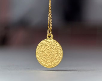 Solid Gold Phaistos Disc Necklace 14k Ancient Greek Coin Gift for Her Layering Necklace Bridal necklace Dainty necklace valentine day