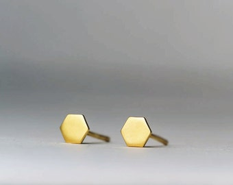 Tiny Hexagon Geometric Earrings 14k solid Gold Jewelry single Minimal Dainty gift for her mom girlfriend graduation gift birthday dainty