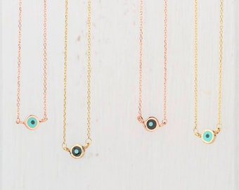 Extra Tiny Solid Gold Evil Eye Necklace Mothers day Gift Round 14k Gift for Her Anniversary layered modern fashion minimal necklace dainty
