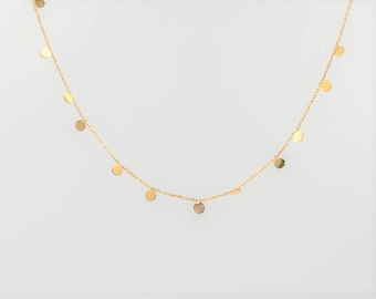 Extra tiny Coin Necklace 14k solid Gold Discs Dainty Gift for Her Circle Bridal jewelry birthday Teen Layering necklace coin dot pendant