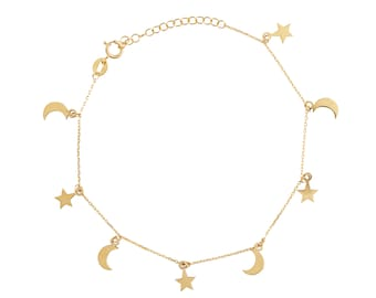 Moon and Star Bracelet in 14k solid Gold  Celestial Rose White 9k 18k for Her Layering Bridal Dainty Valentine gift  Holidays women