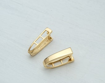 Modern Minimal  Hoop Earrings in 14k Solid Gold Oval Infinity Karma Free form Unisex Elegant Classic Women Timeless Gift Men Graduation