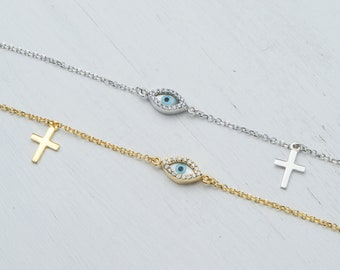 Evil Eye Bracelet in 9K Solid Gold Mother of pearl set in white cz stones with a small cross Gift for Her Anniversary Bridal  Mothers day