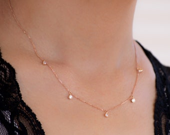 Diamond CZ Necklace 14k solid Gold 5 diamond Gift for Her Dainty Bridal  birthday Gift Dainty necklace valentine day rose gold white