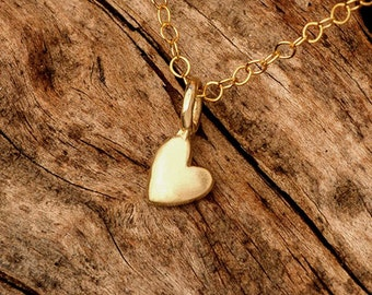 Extra Tiny Heart Necklace Gold Heart Pendant 14k solid Gold Necklace Gift for Her Anniversary present birthday wedding minimal necklace