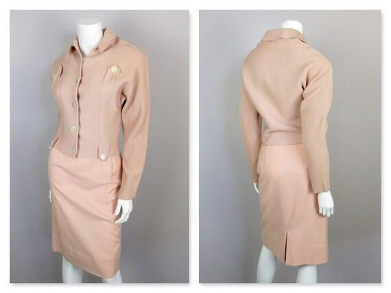 Vintage 1940s 1950s Knit Dress / Sweater Set, Twin
