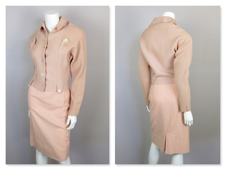fb3180ee8a2c2a Vintage 1940s 1950s Knit Dress / Sweater Set Twinset Twin   Etsy
