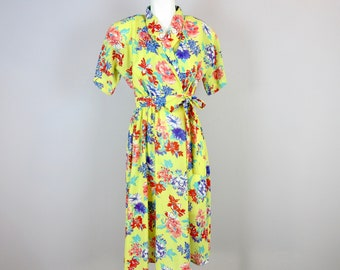 Vintage Hawaiian Style Wrap Dress Yellow Floral Made in USA Sz XS Resort Beach Tropical Tiki Spa Vacation 1940's Inspired  1970's 1980's