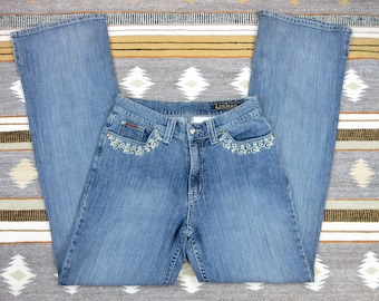 Vintage Lawman Women's Jeans Western Cowgirl, Rodeo Stock Show Fashion Embroidery Embroidered Rhinestones Dark Wash Denim  Size 7 S Small