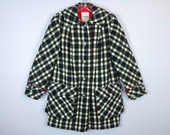 Vintage 1960's 1970's, Black White Plaid / Red Wool Coat / Jacket Women's Penguin Sz S Small M Medium, Rustic Cabin Barn