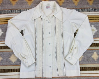 Vintage 60s Tem Tex Label Western Cowgirl Blouse Shirt Top Pearl Snap Size 14 S Small Eggshell Cotton Blend Rodeo Stock Show NFR