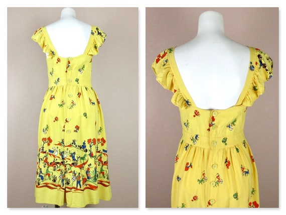 Vintage 1940s Cotton Summer Dress, Horses / Carri… - image 5