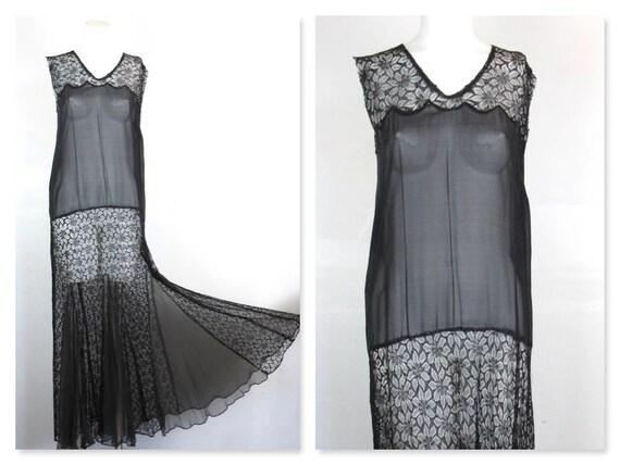 20s 30s Black SHEER Cocktail Evening Dress 12 M 1920s 1930s Vintage Deco Flapper Crochet lace