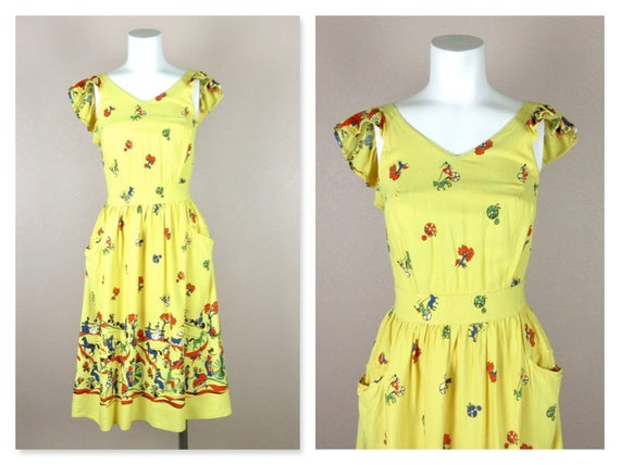 Vintage 1940s Cotton Summer Dress, Horses / Carri… - image 2