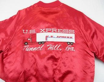 Vintage Lady Trucker Red Satin Jacket, OTR Semi Truck Driver Safe Award US Xpress, Transportation Advertising, Made in USA, M Medium,