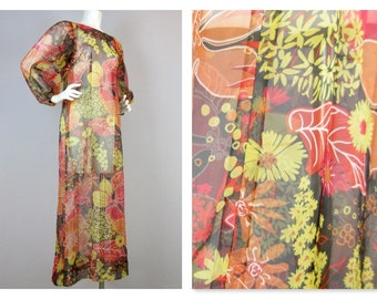 Vintage 1960's Caftan Gown Semi Sheer Long Dress Gown Beach Cover Up Psychedelic Mid Century Mod Metal Zipper Size S Small Brilliant Colors