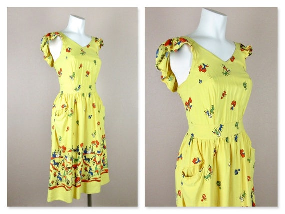 Vintage 1940s Cotton Summer Dress, Horses / Carri… - image 3