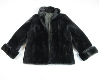 Vintage Silver Gray Mouton Swing Coat / Jacket Rare Color Sheepskin Shearling Mid Century 1950's 1960's Size M Medium / L Large Wool