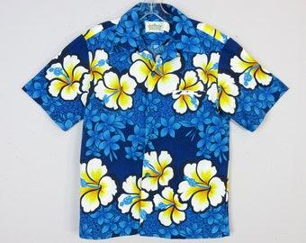 Vintage 1970's Hawaiian Skirt Blue Yellow Floral Hibiscus Print Hawaii Label Men's Size S Small Women's M Medium Unisex