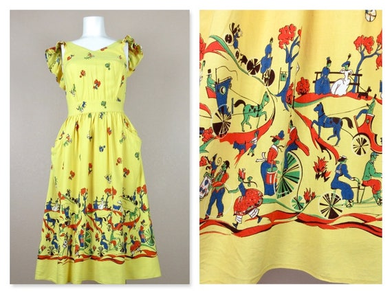 Vintage 1940s Cotton Summer Dress, Horses / Carri… - image 1