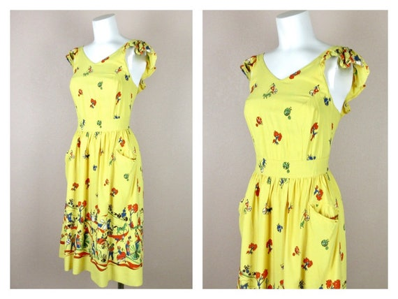 Vintage 1940s Cotton Summer Dress, Horses / Carri… - image 4