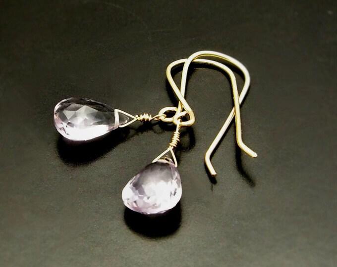 LOVE LIGHT ~  Pink  Amethyst, 14kt Gold Fill  Earrings