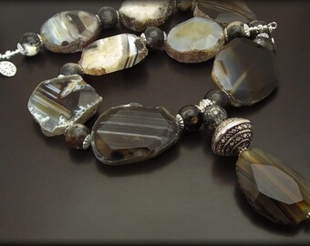 ROAD NOT TAKEN  ~ Bold Statement  Black Agate, Silver  Necklace