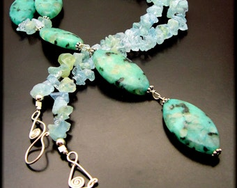 AQUASTRINGS ~ Aquamarine, Kiwi Jasper,  Sterling Silver Necklace