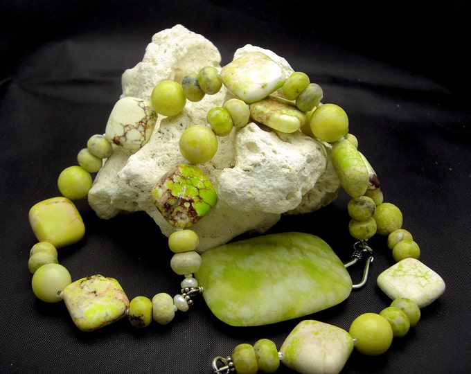 SUMMERTIME ~ Yellow Turquoise, Butter Jade, Sterling Silver Necklace