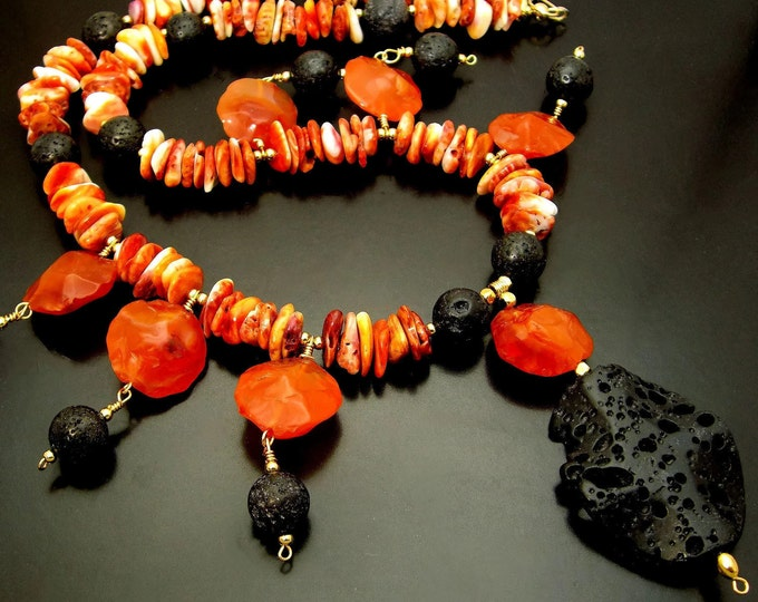 SERAPHIM ~ Spiney Oyster, Carnelian,  Lava Stone, 14kt Gold Fill Necklace