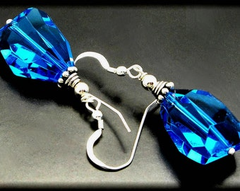 ELECTRIC BLUE ICE ~  Blue Quartz, Sterling Silver Earrings
