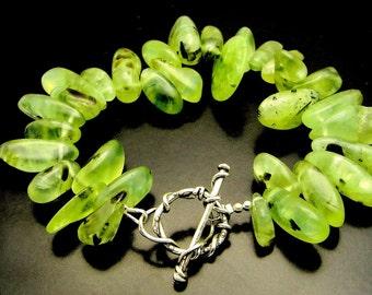 GREEN SLEEVES ~ Prehnite Nuggets, Sterling Silver Artisan Bracelet