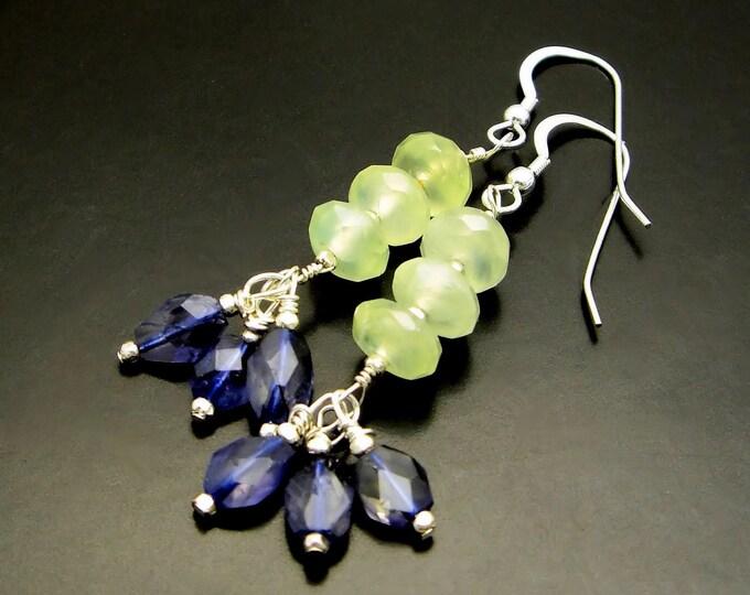 WATER LILIES ~ Sapphire Blue Iolite, Prehnite,  Sterling Silver Earrings