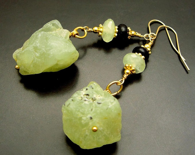 RIM OF GREEN ~ Green Garnet, Prehnite, Onyx 14kt Gold Fill Earrings