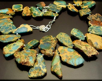 RARE EARTH ~ Chunky Natural Variscite, Sterling Silver Necklace Set