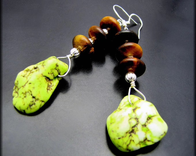 HARMONY ~ Bold Lime Magnasite and Brown Tigers Eye SS Earrings