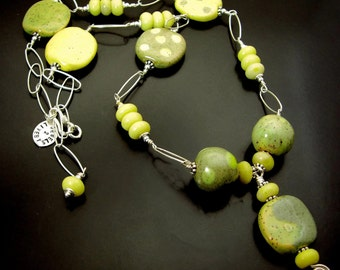 MIXED EMOTIONS ~ African Kazuri Clay Beads, Yellow Jade Sterling  Necklace