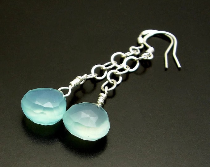 OLE BLUE EYES ~ Aqua Blue Chalcedony Sterling Silver Earrings