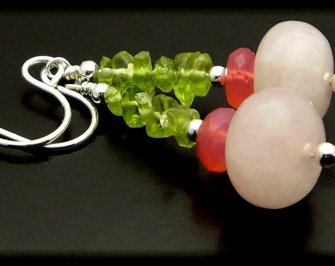 LITTLE ROSES ~ Rose Quartz, Chalcedony, Peridot, Sterling Silver Earrings