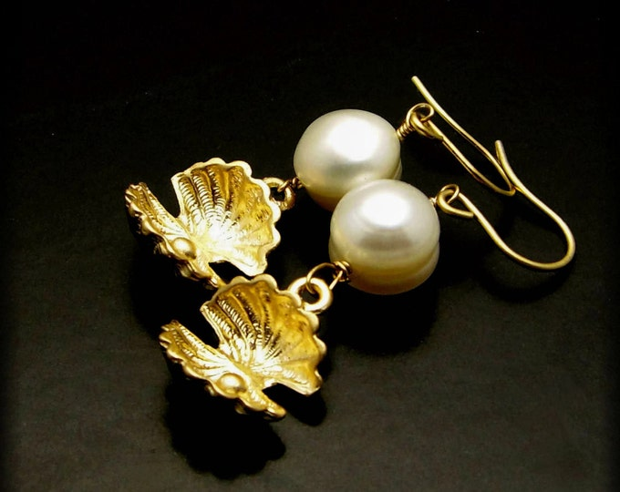 REBIRTH ~ White Round Freshwater Pearl and Clam Shell Golg Earrings