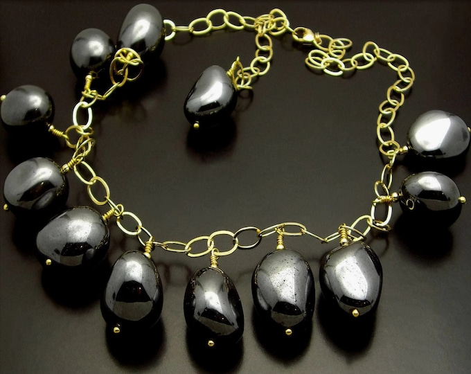 ROLLING STONES ~ Natural Hematite Nuggets, 14kt Gold Fill Necklace Set