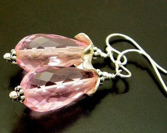 EVANGELINE ~ Pink Quartz, Hill Tribe Silver Earrings