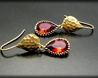 RUBY'S FIRE ~ Red Quartz, 14kt Gold Vermeil Earrings