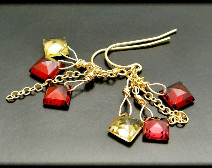 ALEXIS ~ Pink Tourmaline, Yellow Citrine, 14kt Gold Fill Earrings