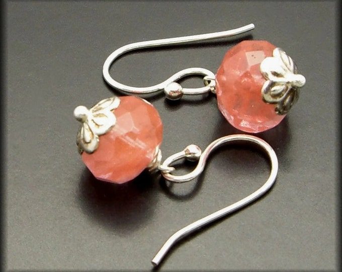 CHERRY MOON ~ Pink Quartz, Sterling Silver  Earrings