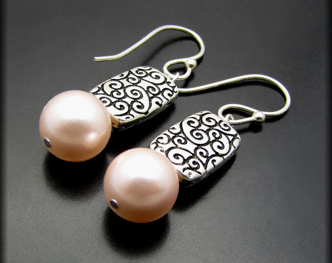 FORGIVEN ~ Pink Freshwater Pearl, Sterling Silver Earrings