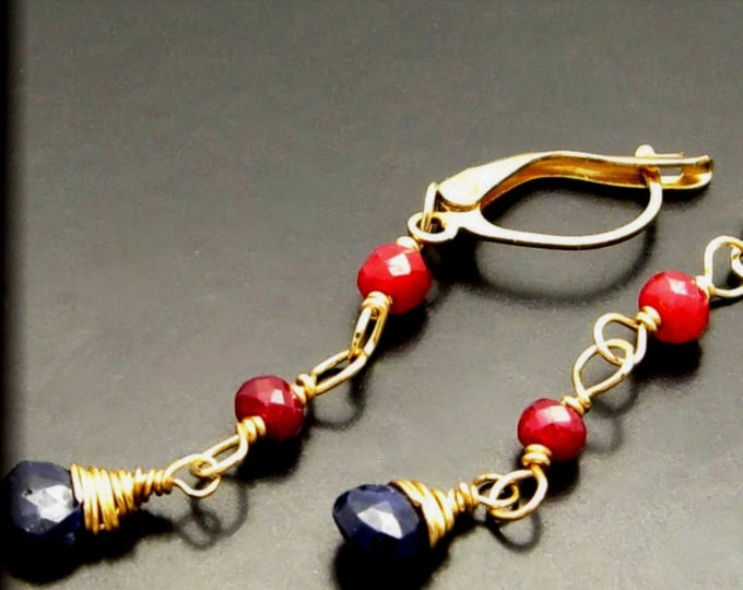 AURELIA ~ Natural Ruby, Sapphire 14kt Gold Fill Earrings